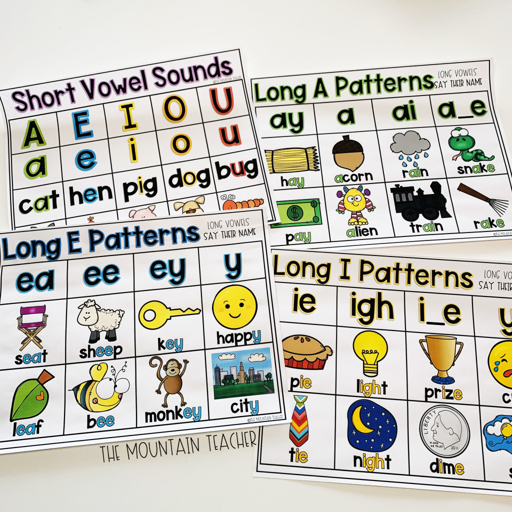Anchor Charts for Short and Long Vowels - Second Grade Phonics sample pack