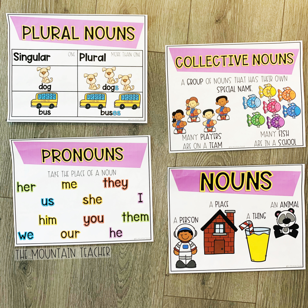 Anchor charts for second grade grammar skills involving nouns, pronouns, collective nouns and plural nouns.