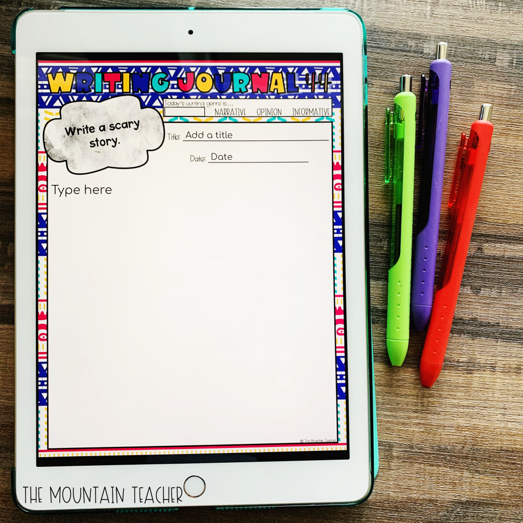 Digital writing journals to help plan for a digital classroom.