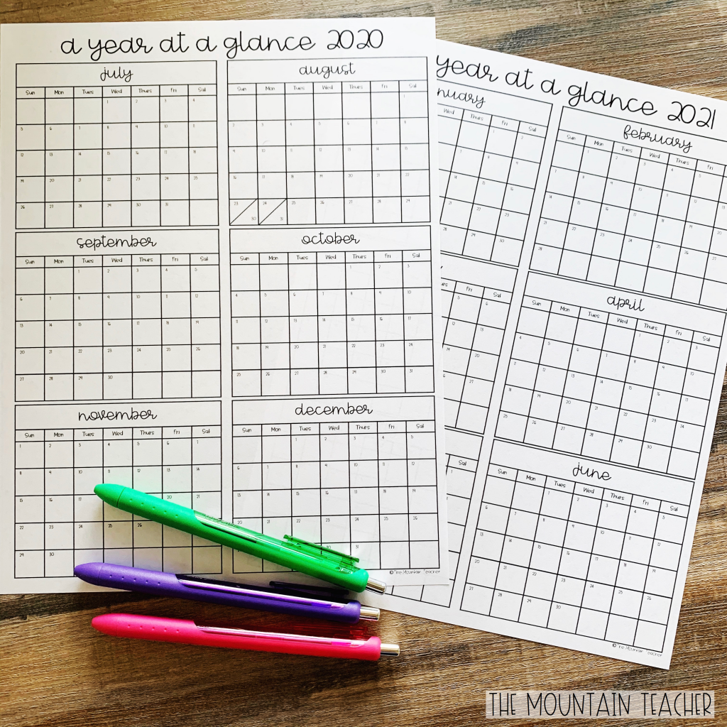 Free planners for year long planning using a year at a glance template