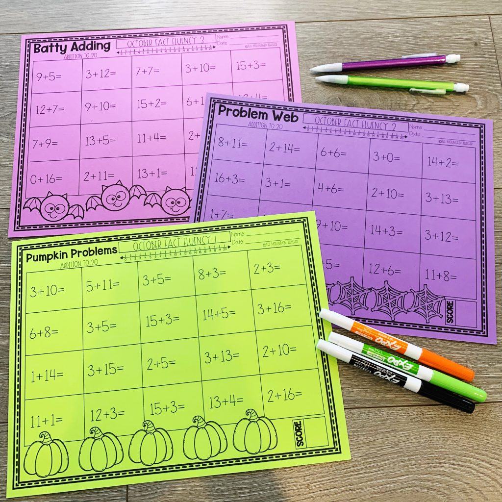 Addition and Subtraction Math Fact Fluency to 20 Worksheets