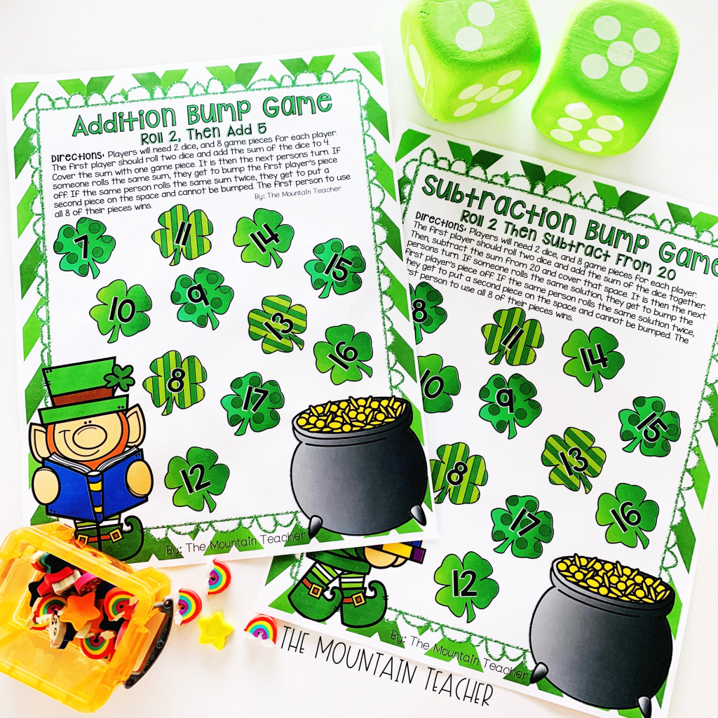 First grade and second grade students will love this math fact partner game for St. Patrick's Day.