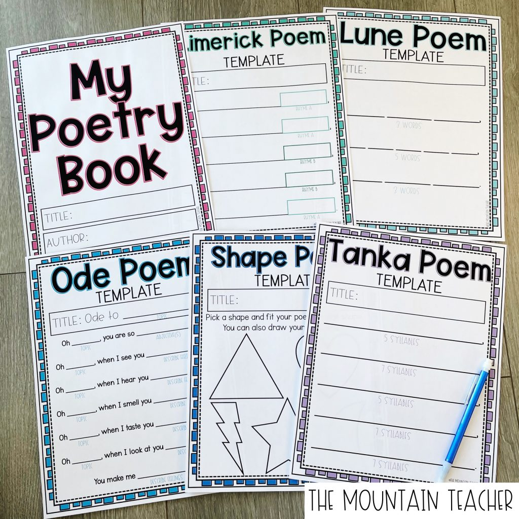 Poetry Book for Kids Including Writing Templates for Limerick, Lune, Ode, Shape and Tanka Poems
