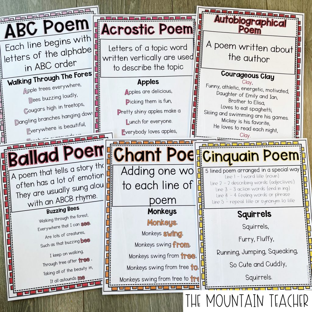 ABC Poem, Acrostic Poem, Autobiographical Poem, Ballad Poem, Chant POem, Cinquain Poem Anchor Charts