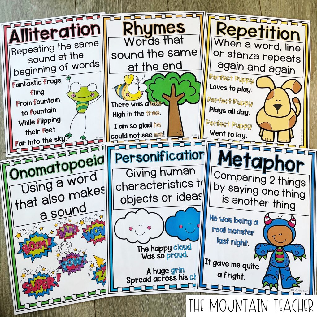 Alliteration, Ryme, Reptition, Onomatopoeia, Personification, and Metaphor Anchor Charts