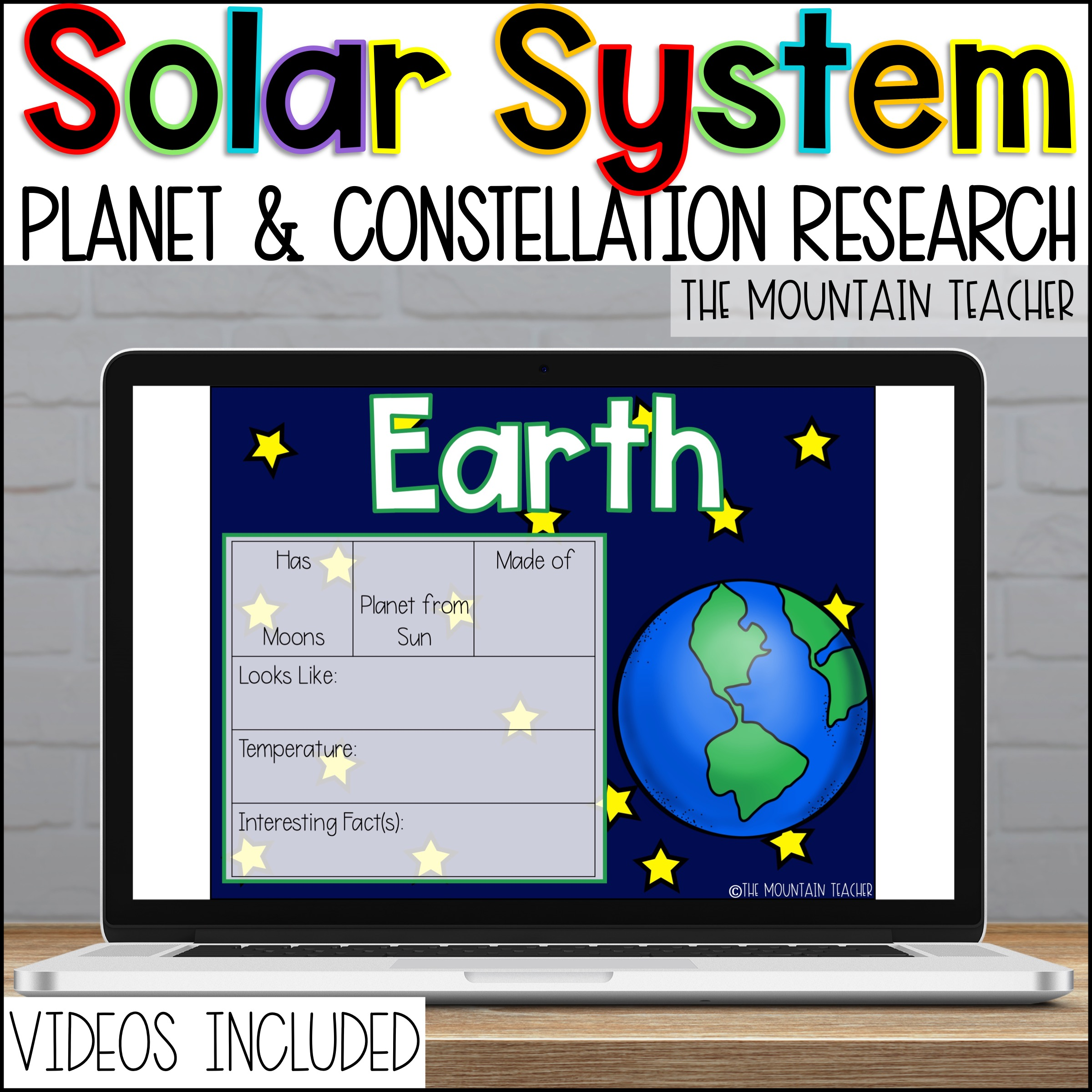 Digital Solar System Resource for 2nd or 3rd Grade Students Planets Constellations and More