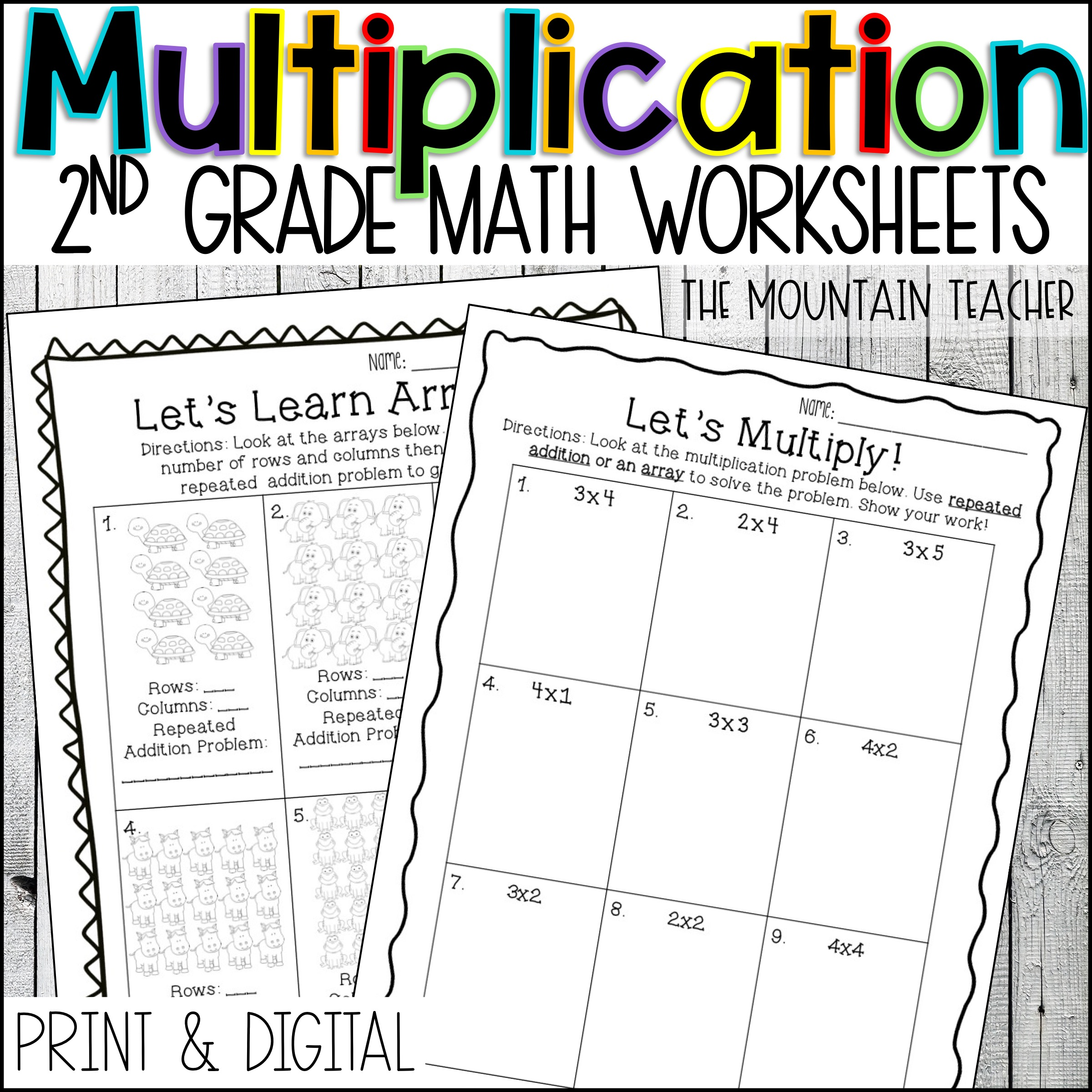Multiplication Worksheets for 2nd Grade By The Mountain Teacher