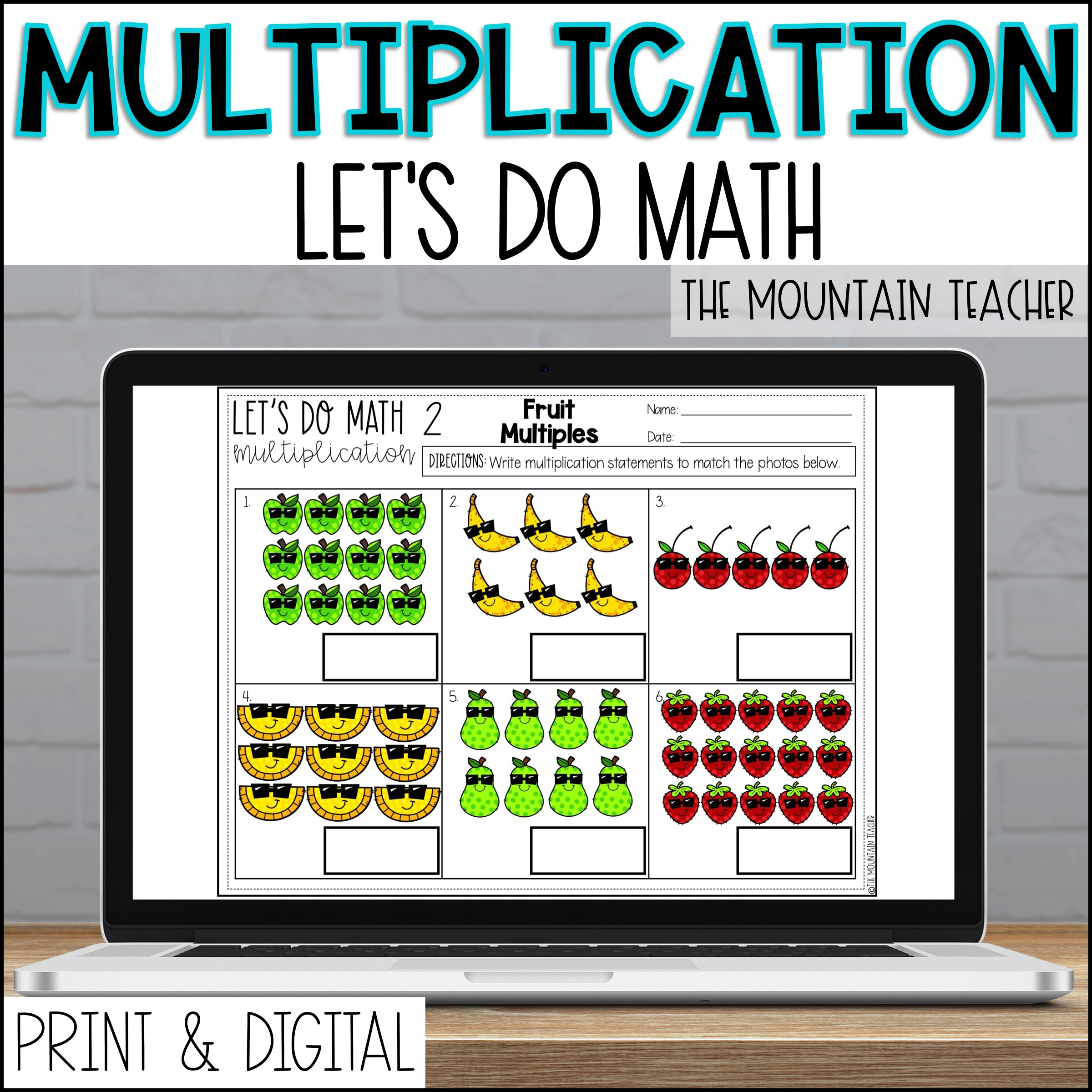 DIGITAL Multiplication Unit for 2nd Grade Arrays Repeated Addition Number Line By The Mountain Teacher