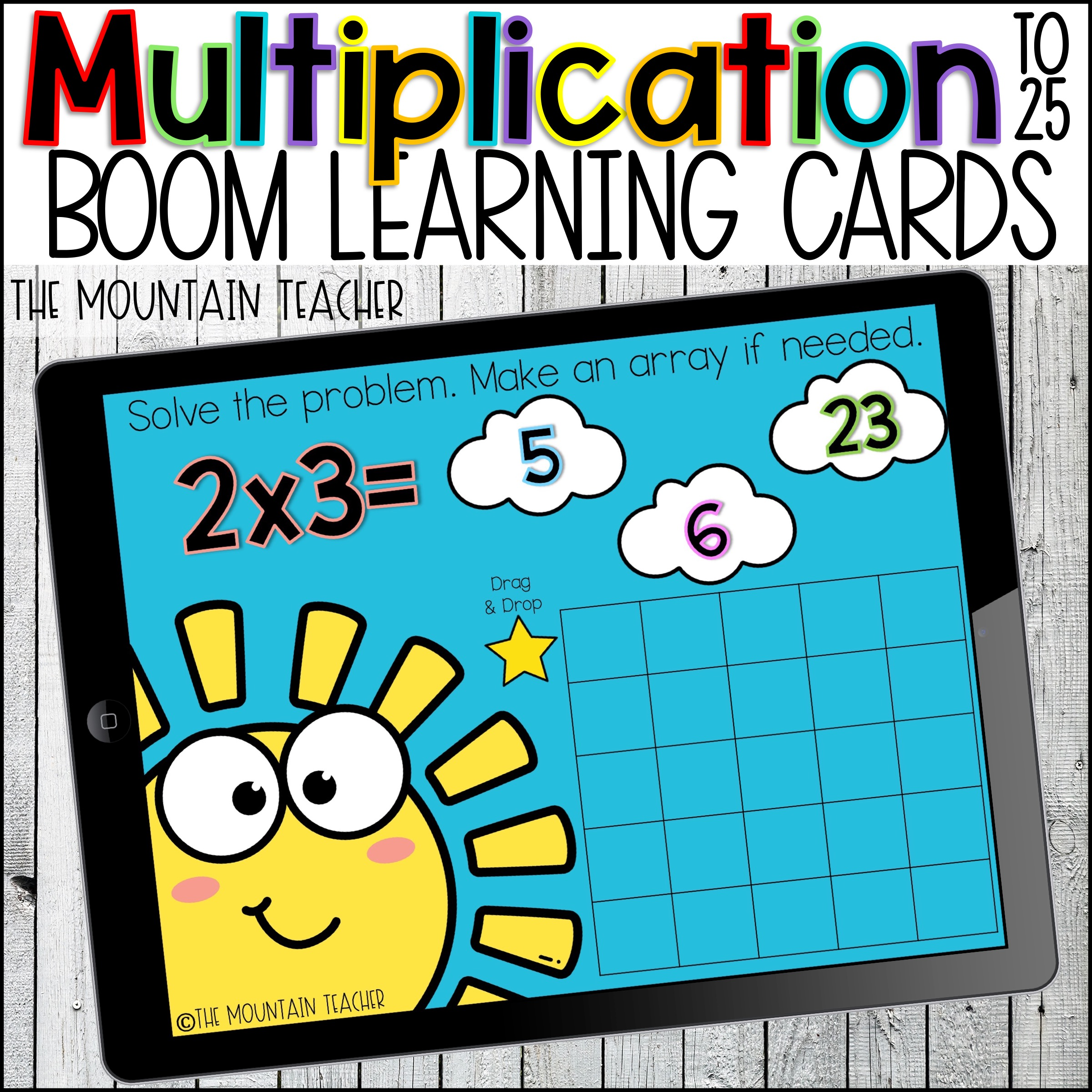 Multiplication and Arrays to 25 Boom Learning Cards by The Mountain Teacher