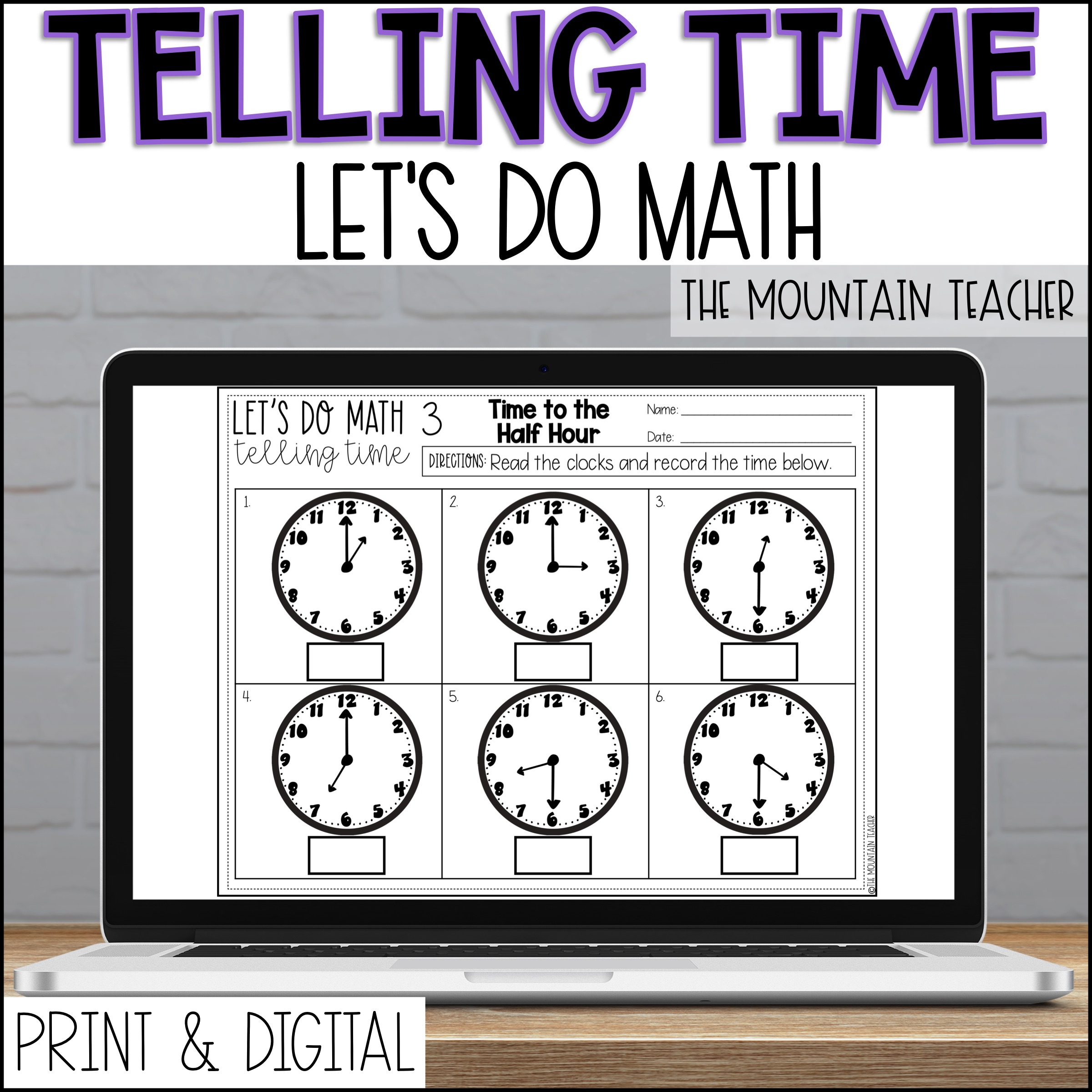 DIGITAL Telling Time to 5 Minutes Unit for 2nd Grade By The Mountain Teacher