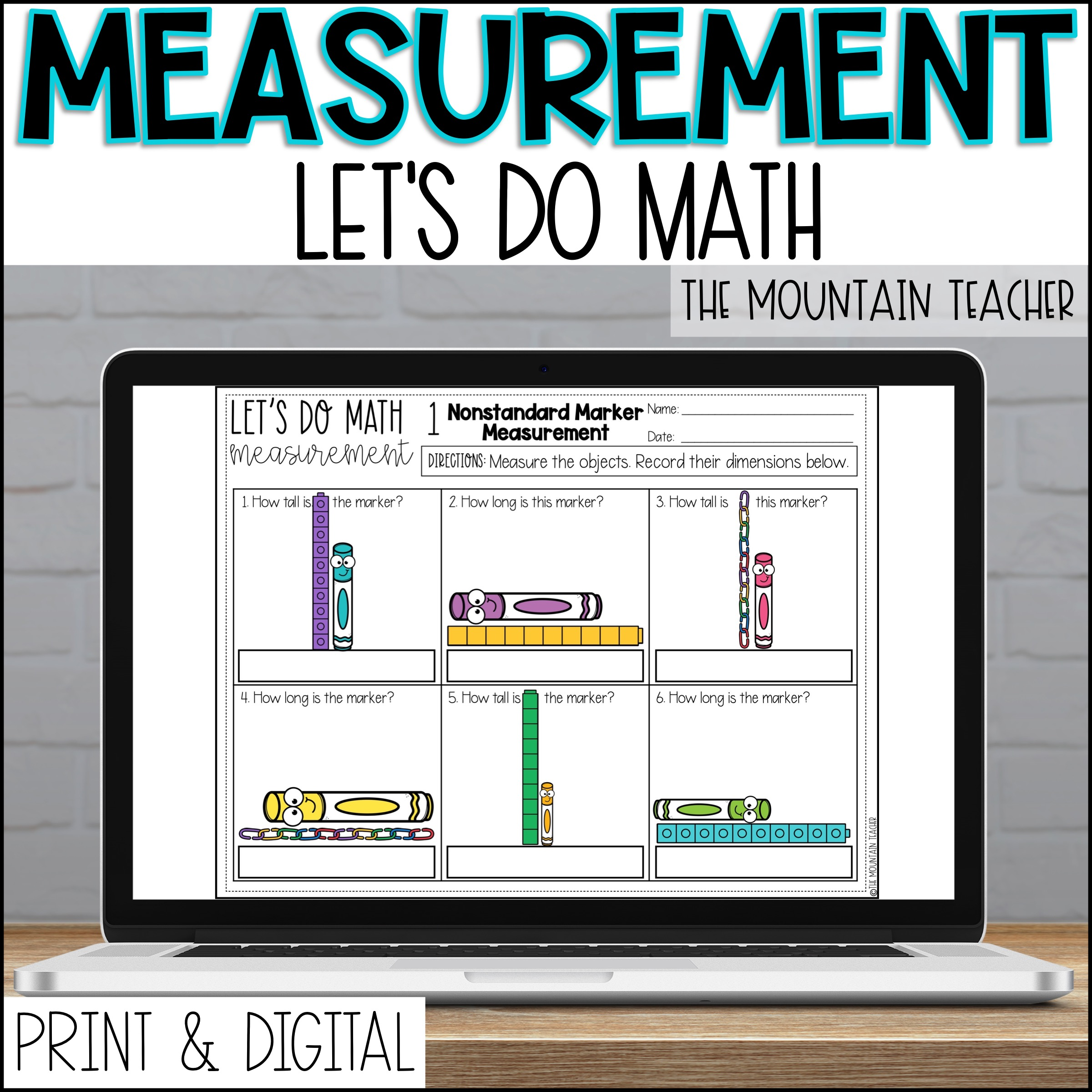 DIGITAL Measurement Unit for 2nd Grade By The Mountain Teacher