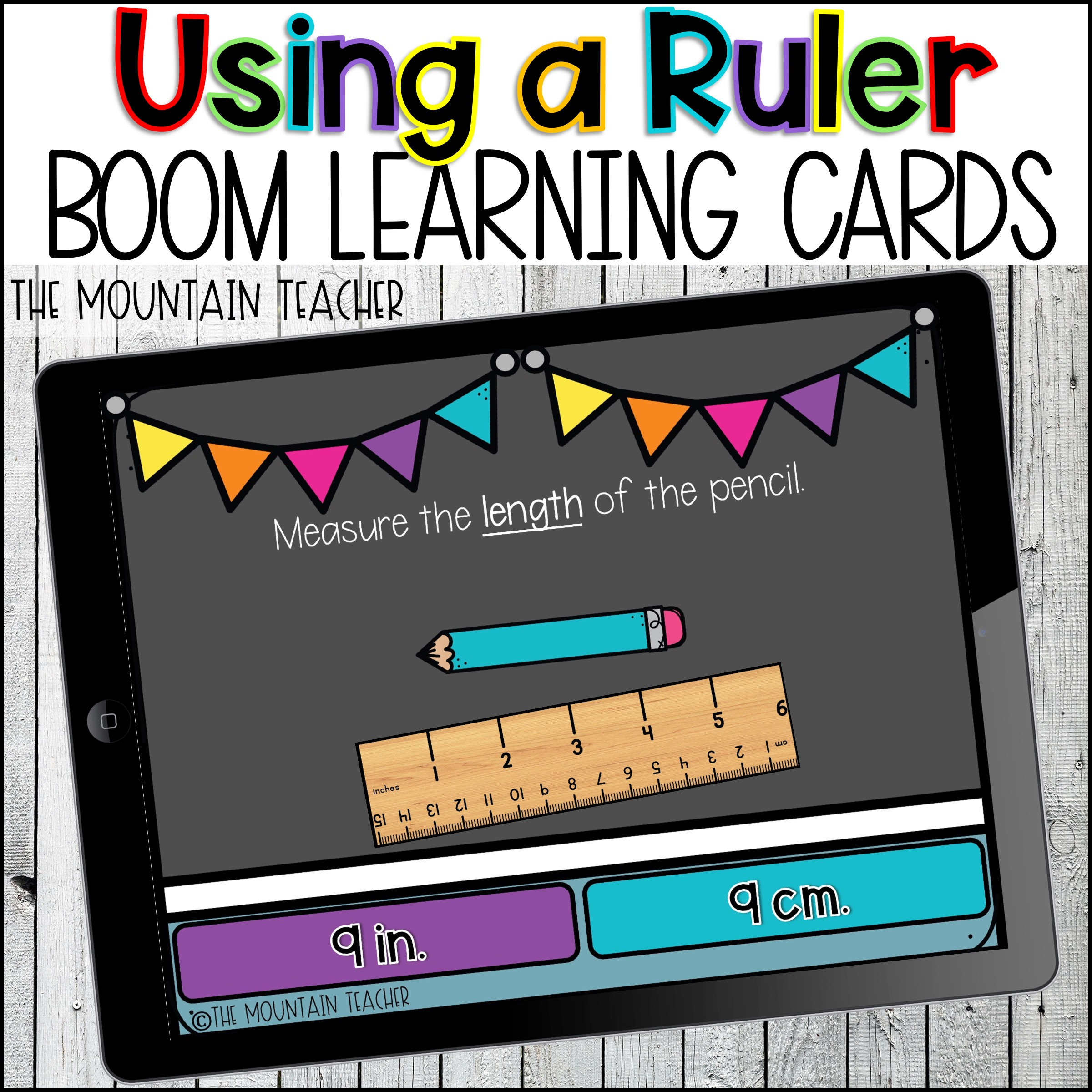 Using a Ruler Measurement Boom Learning Cards by The Mountain Teacher