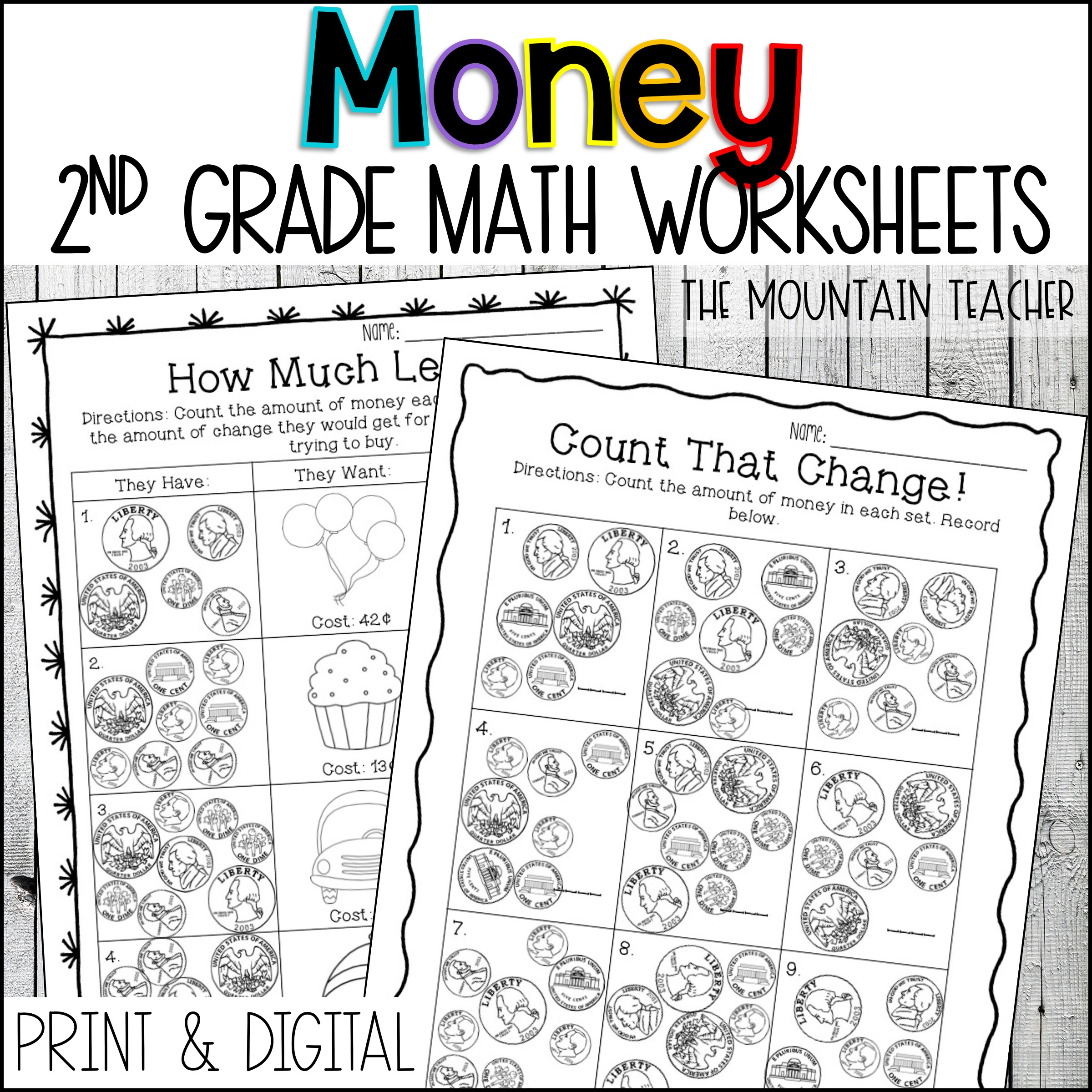 2nd Grade Money Worksheets Counting Coins Word Problems By The Mountain Teacher