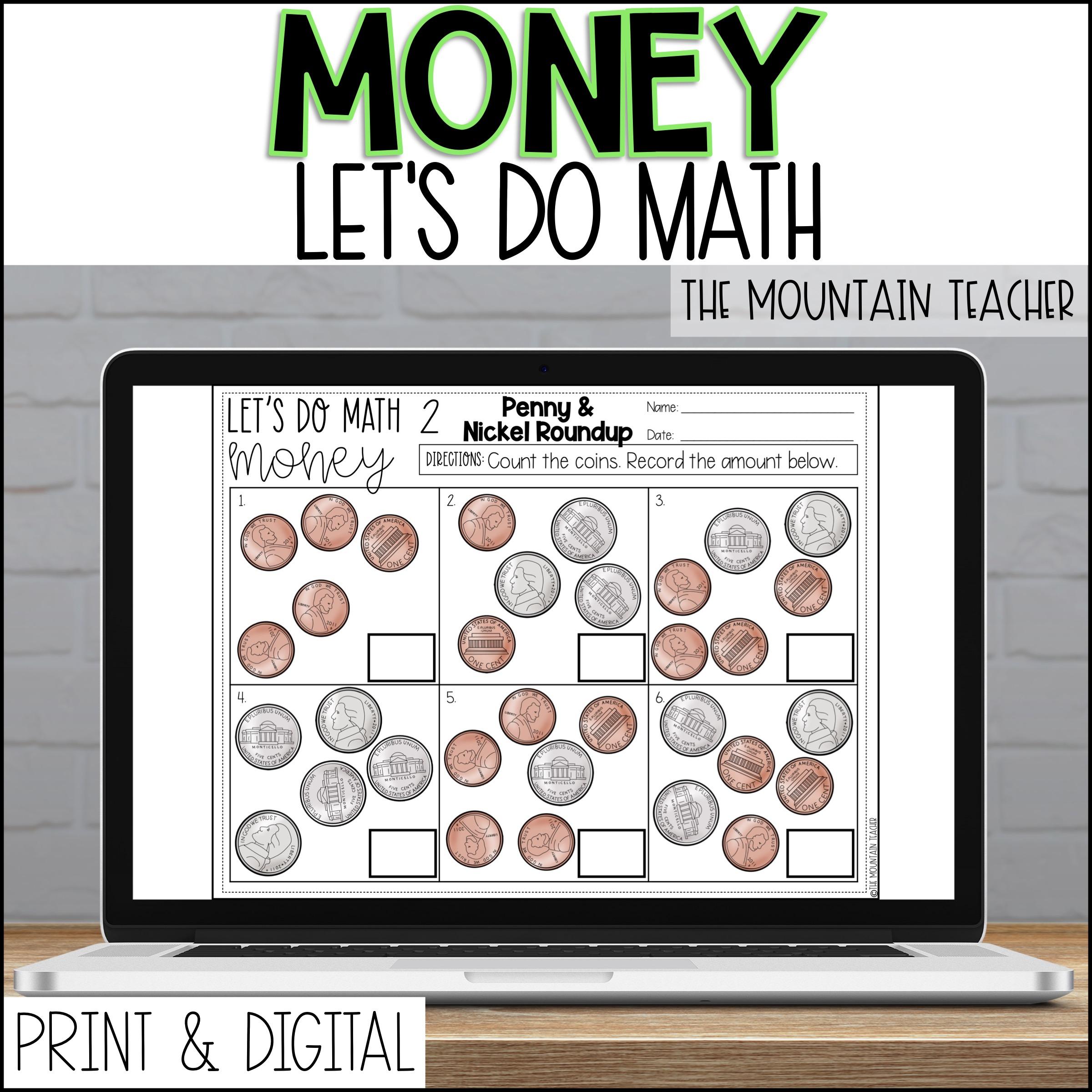 DIGITAL Teaching Money Worksheets Assessments Warm Ups 2nd Grade By The Mountain Teacher