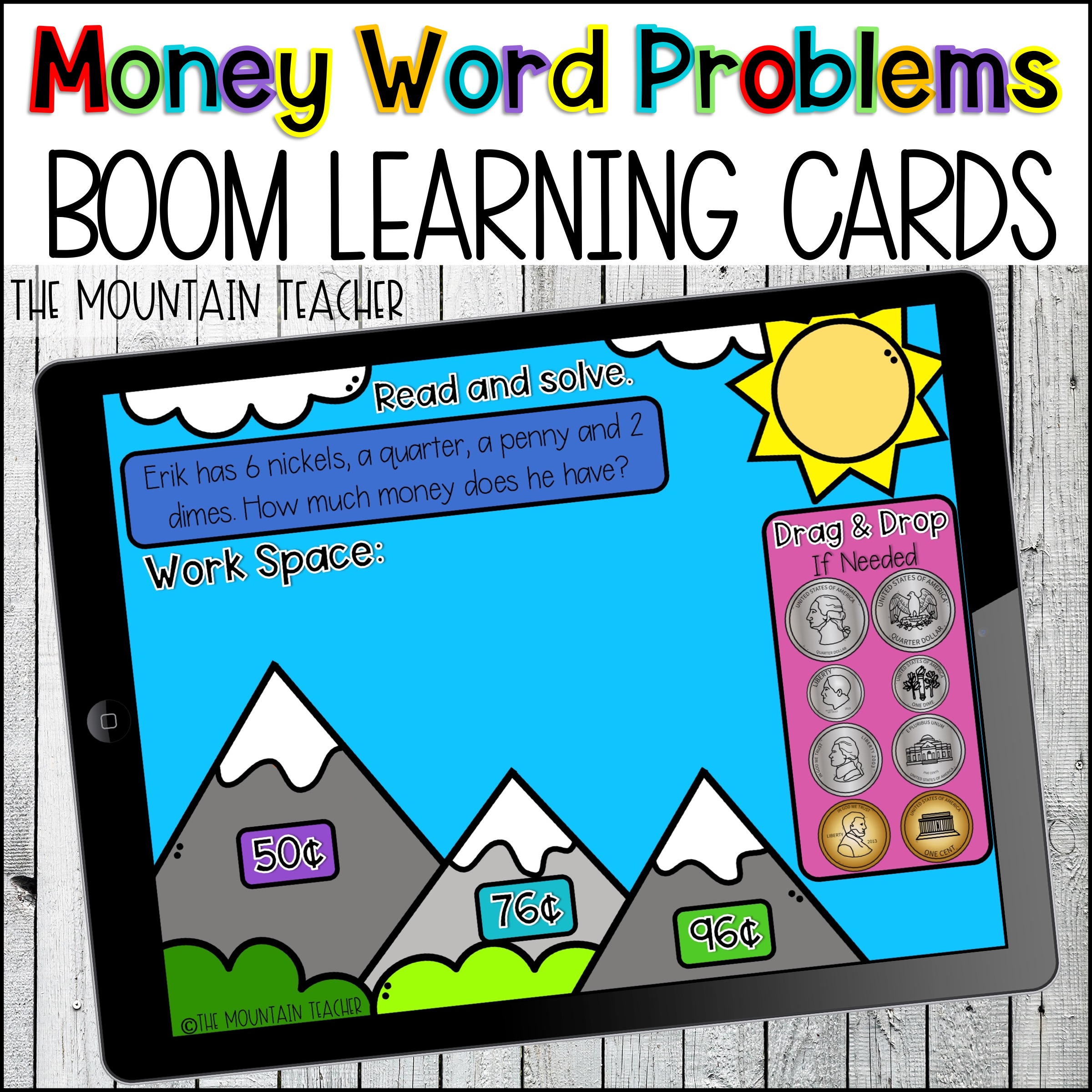 Counting Coins BOOM Learning Cards about Money By The Mountain Teacher
