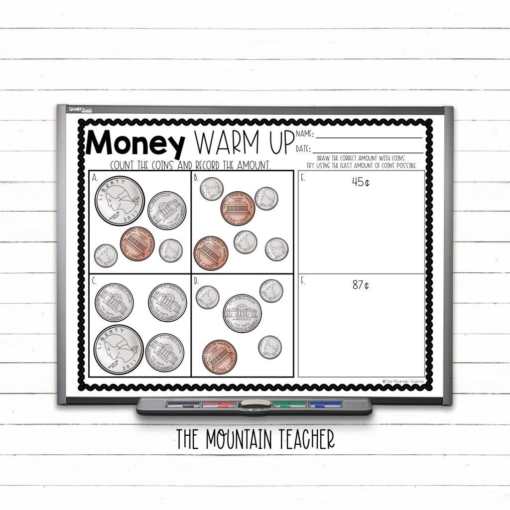 Money warm up counting coins for 2nd graders