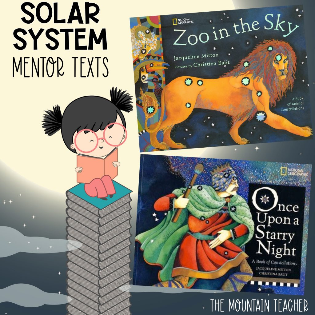 Solar system mentor texts for stars and planets - zoo in the sky and once upon a starry night