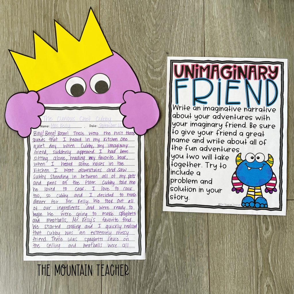 narrative writing activity round up - imaginary friend beekle craft and project