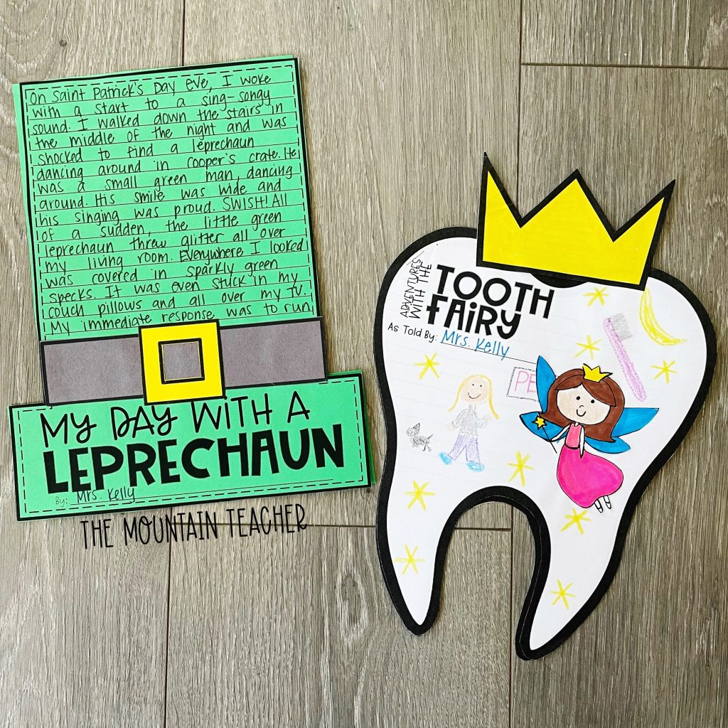 narrative writing activity round up - my day with a leprechaun and tooth fairy craft and project