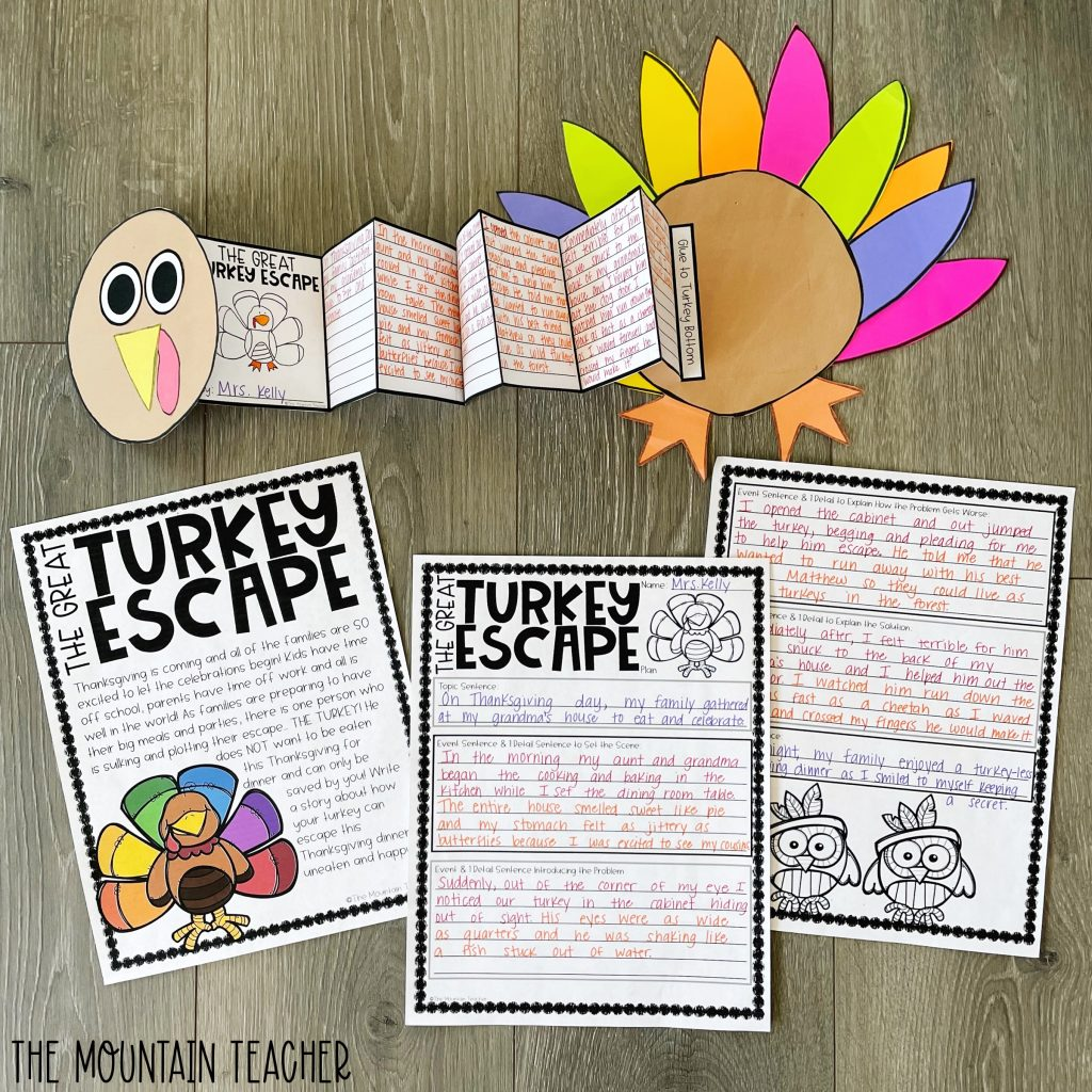 narrative writing activity round up - the great turkey escape craft and project