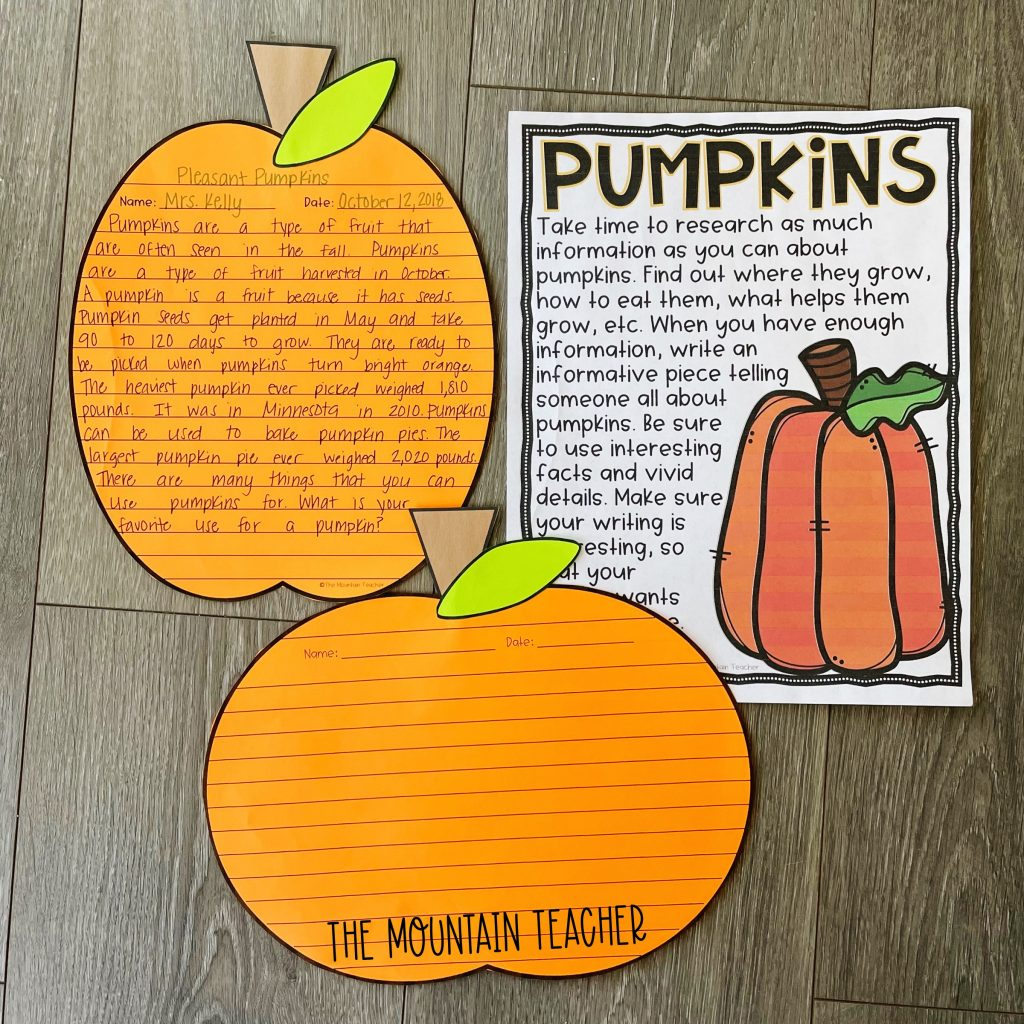 informative writing activity round up - pumpkin research craft and project
