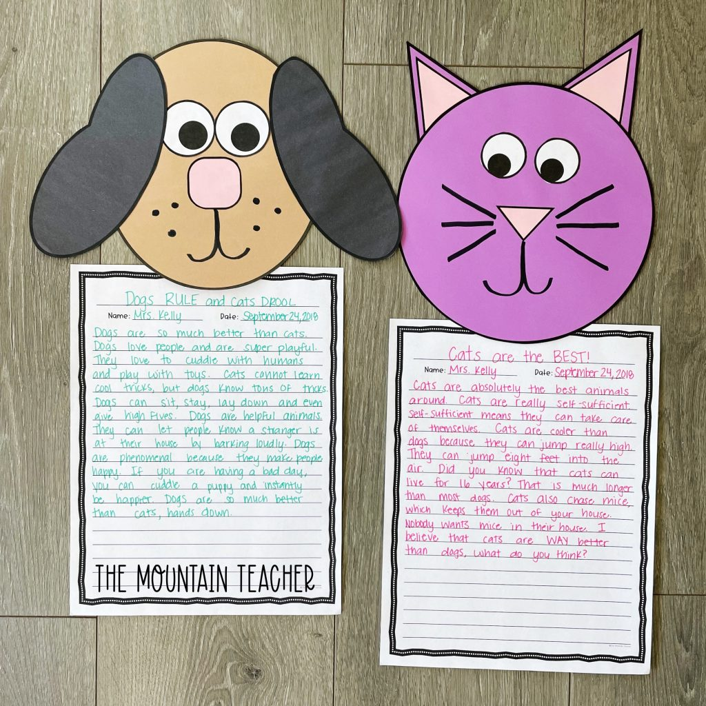 opinion persuasive writing activity round up - cat vs dog craft and project