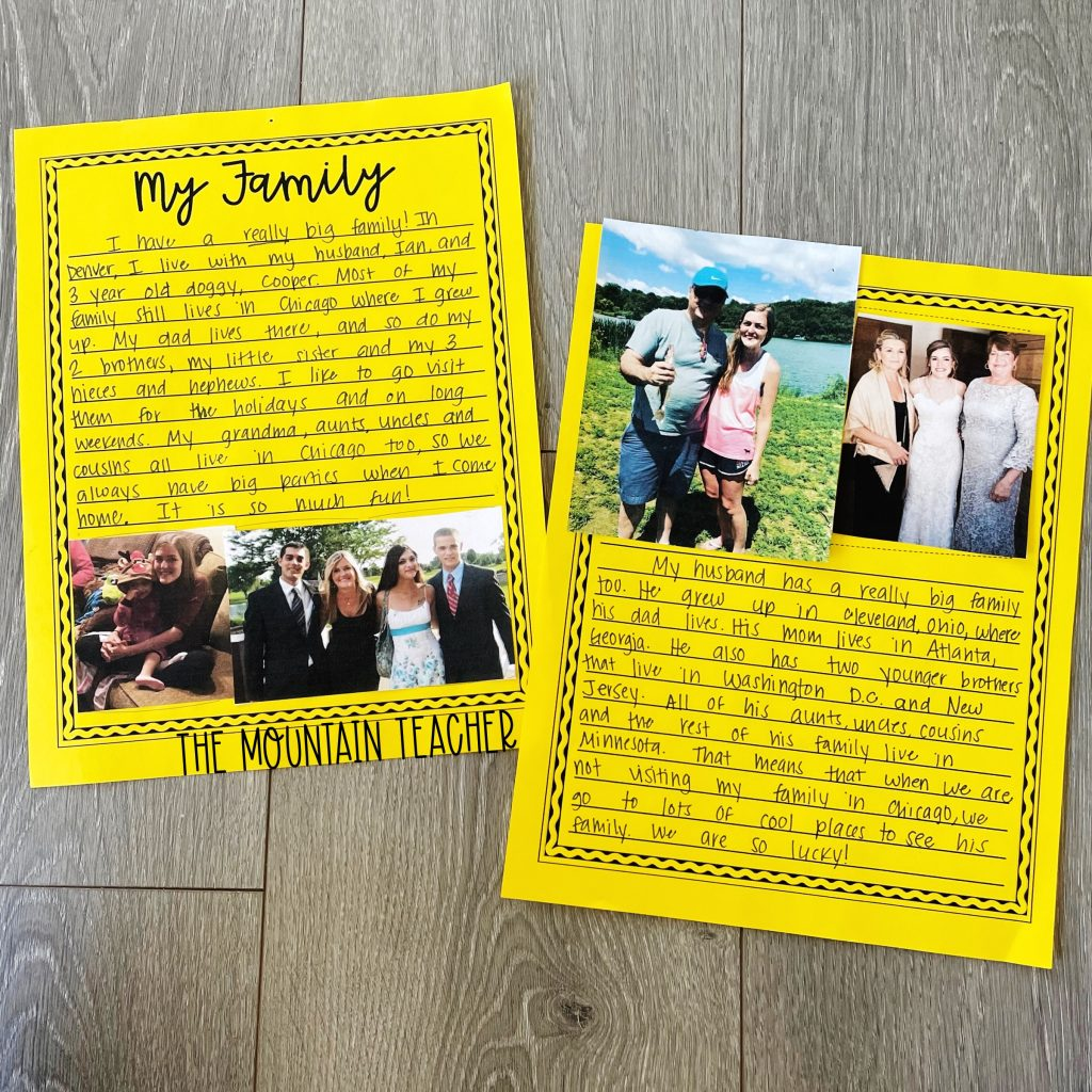 star student get to know you activity for elementary classroom - my family