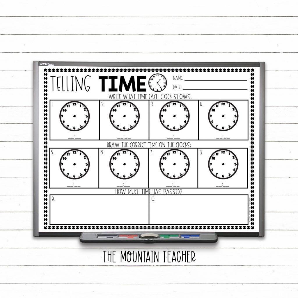 Telling time on analog clocks 2nd grade warm up