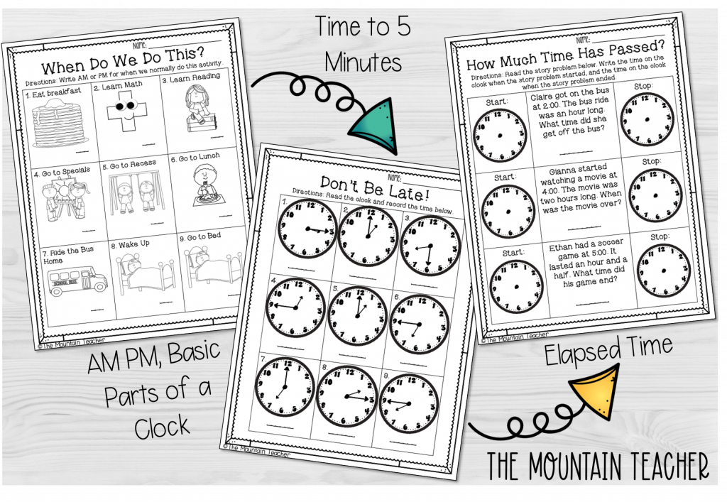 telling time to 5 minutes 2nd grade sequence - am pm, parts of a clock, time to 5 minutes, elapsed time worksheets