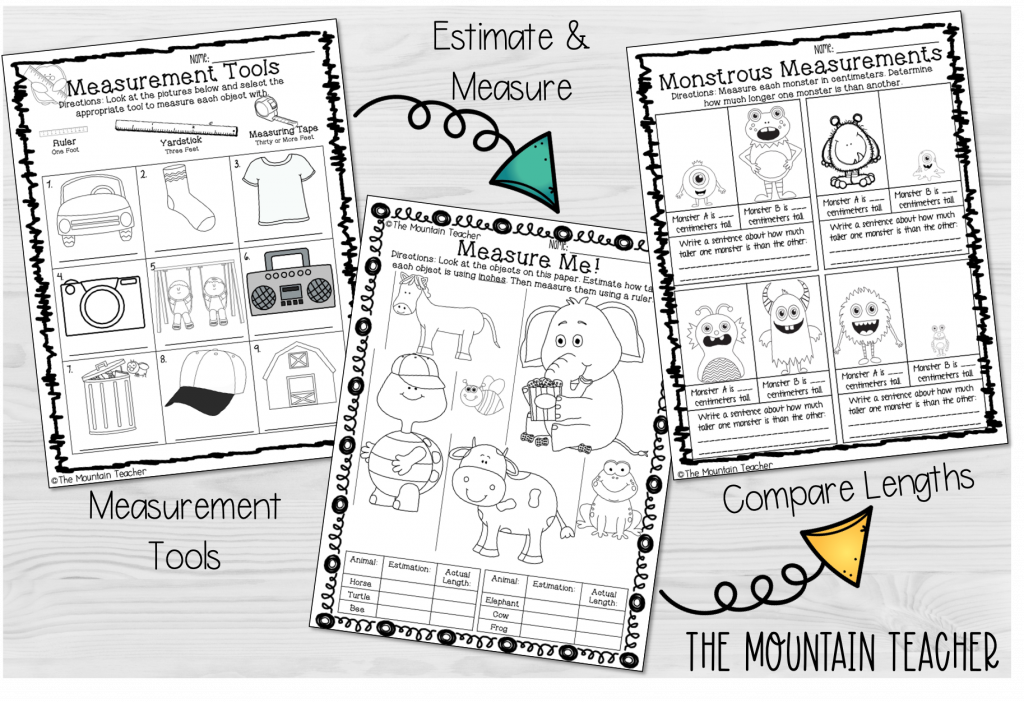 measurement sequence for 2nd grade students - tools, estimate, measure, compare lengths worksheets