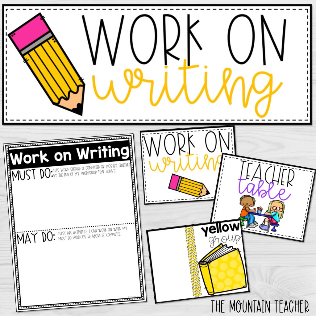 Work on writing center anchor charts, small group signs and must do may do editable template