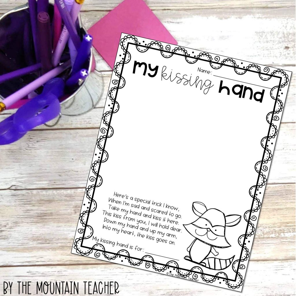 Back to school Character Building Activities - my kissing hand craft and activity