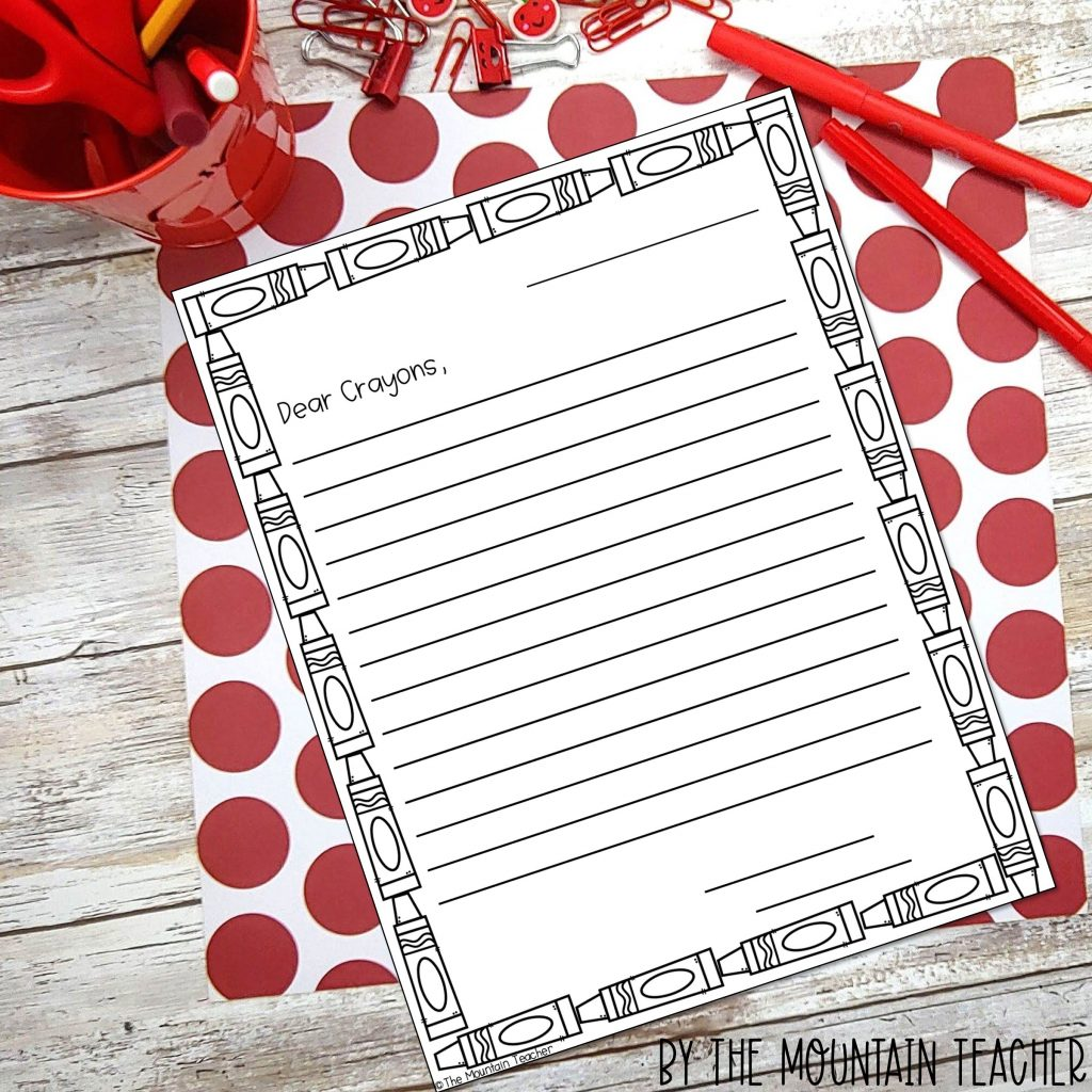 Back to school Character Building Activities - letter to crayons activity for day the crayons quit