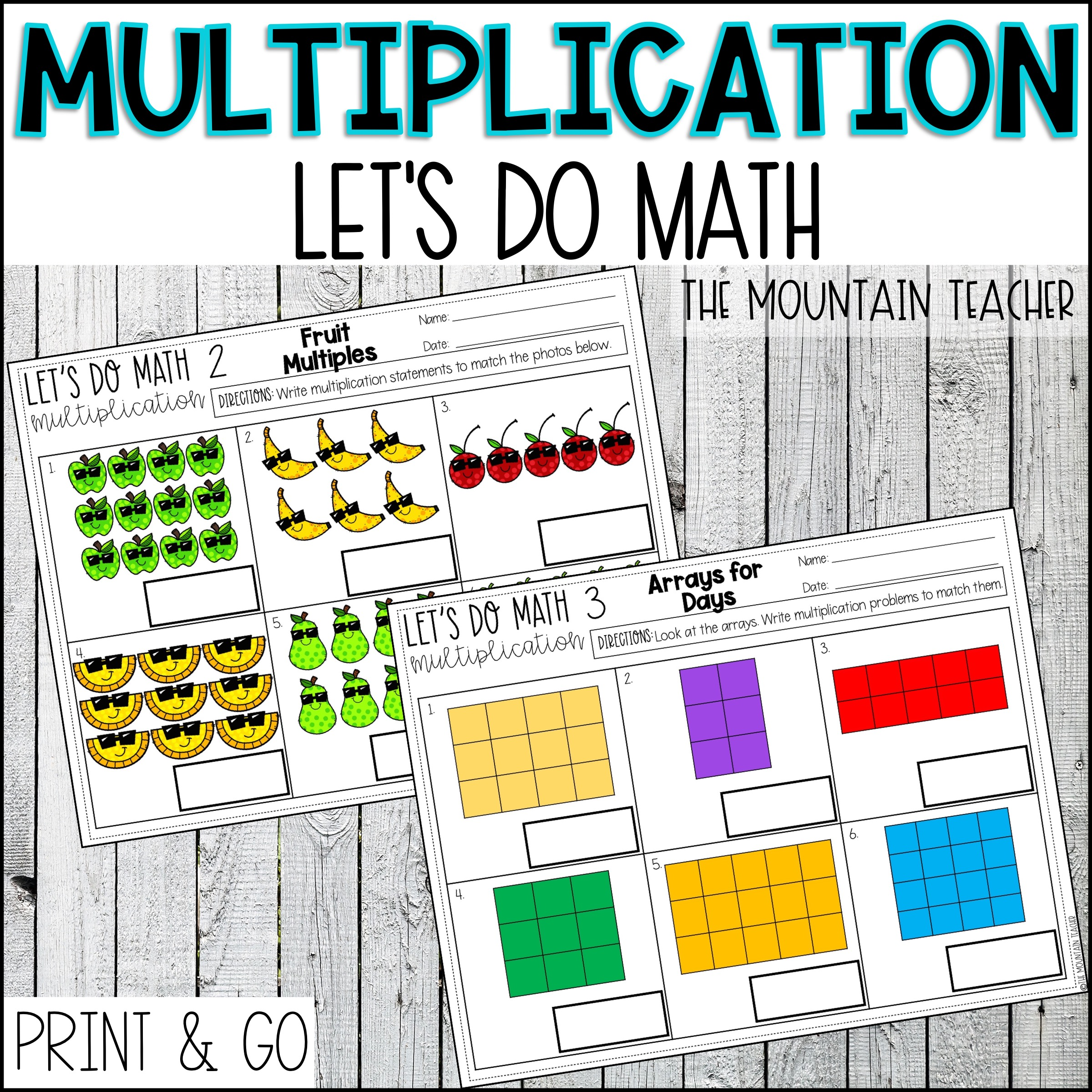 Multiplication Unit for 2nd Grade Arrays Repeated Addition Number Line By The Mountain Teacher