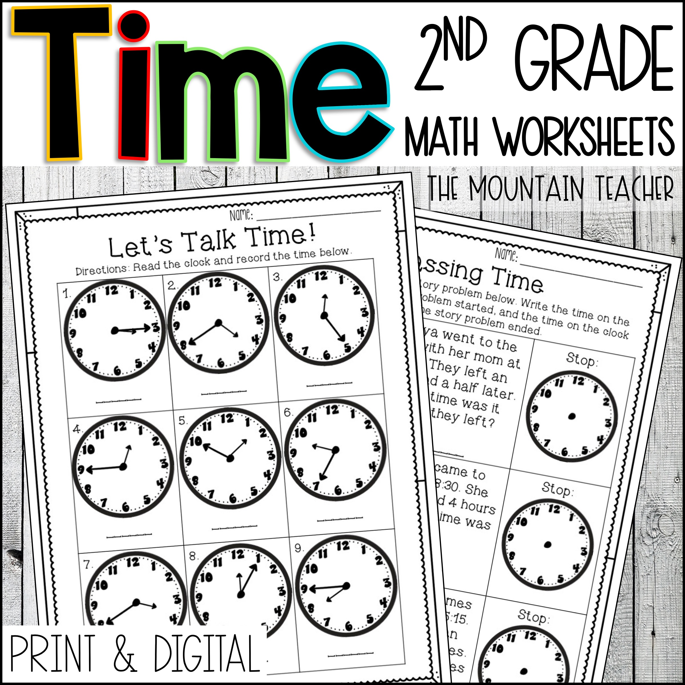 Telling Time to 5 Minutes Worksheets for 2nd Grade By The Mountain Teacher