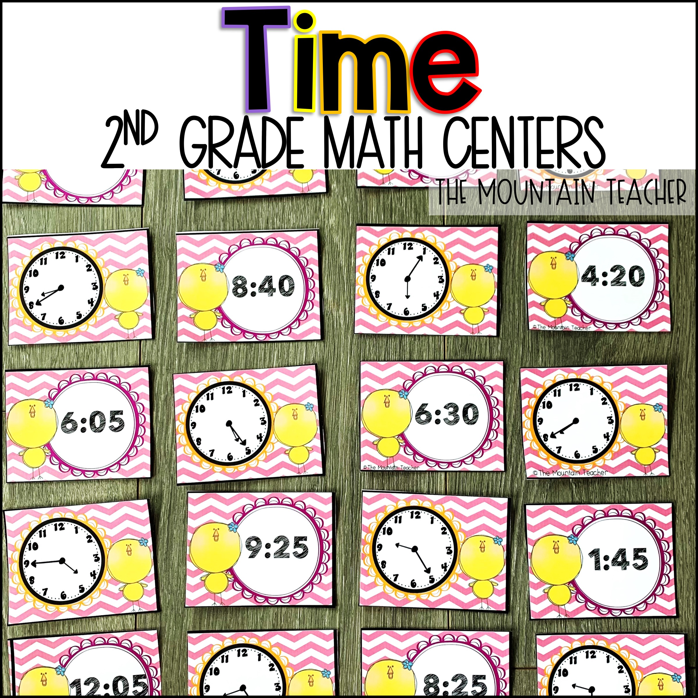 Telling Time to 5 Minutes Centers for 2nd Grade By The Mountain Teacher
