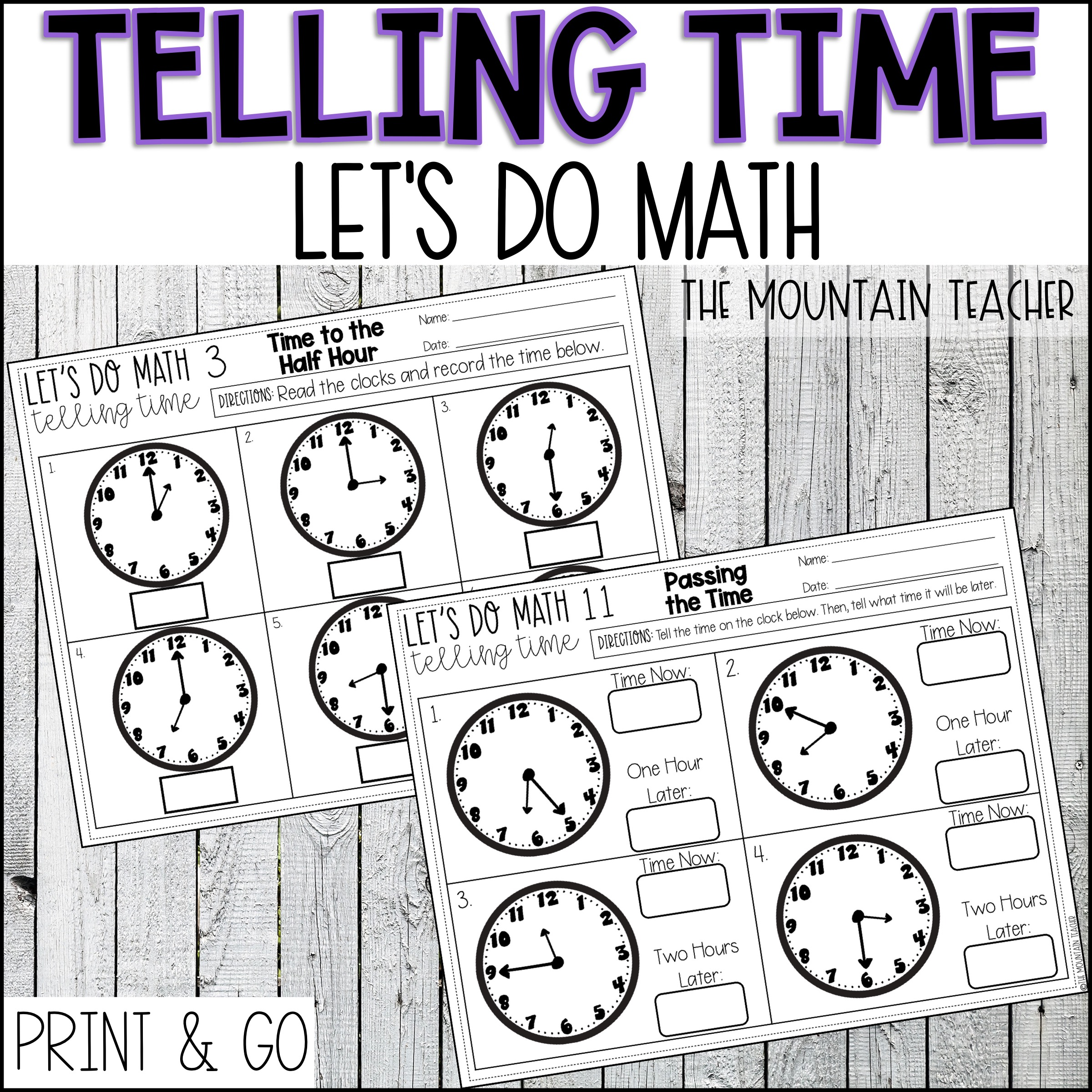 Telling Time to 5 Minutes Unit for 2nd Grade By The Mountain Teacher
