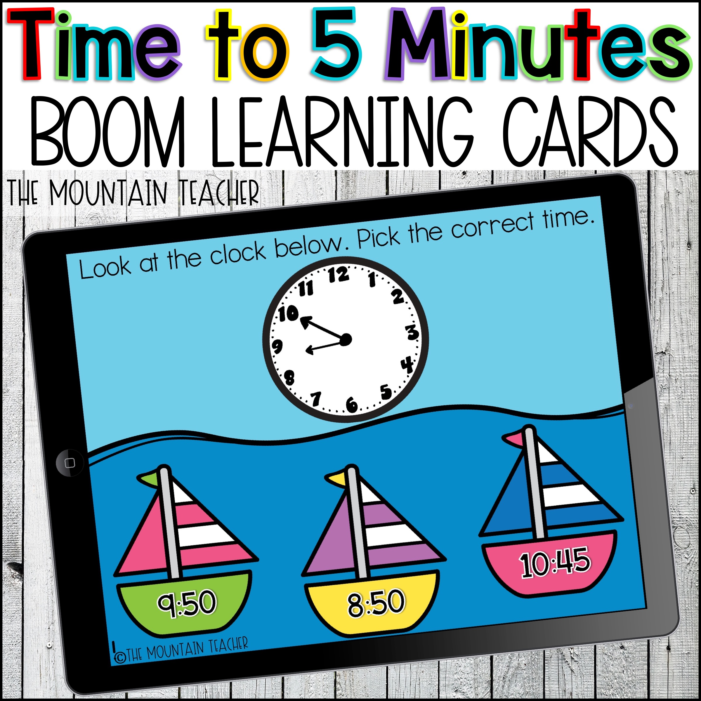 Time to 5 Minutes BOOM Learning Cards by The Mountain Teacher