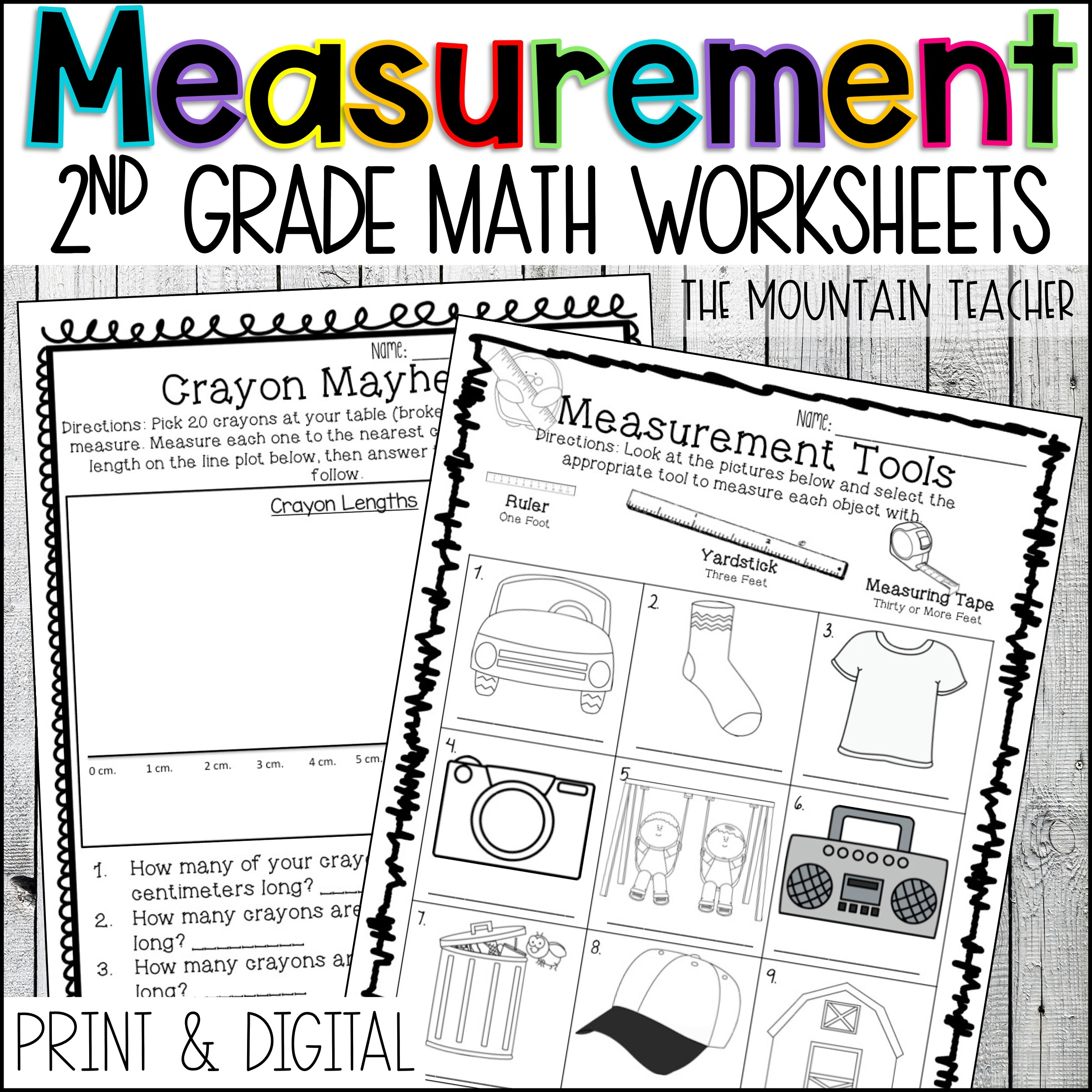 Measurement Worksheets for 2nd Grade By The Mountain Teacher