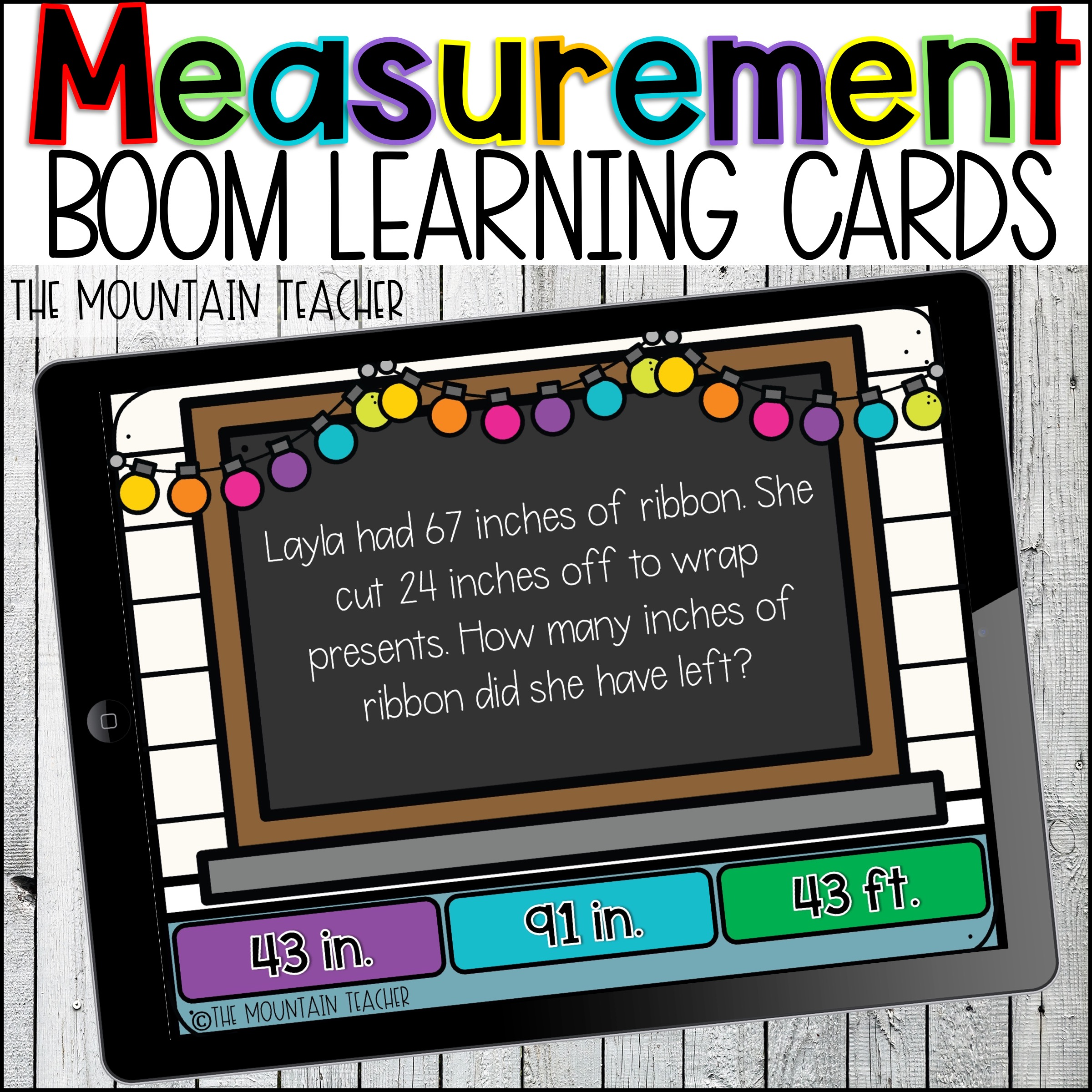 Measurement Word Problems Boom Learning Cards by The Mountain Teacher