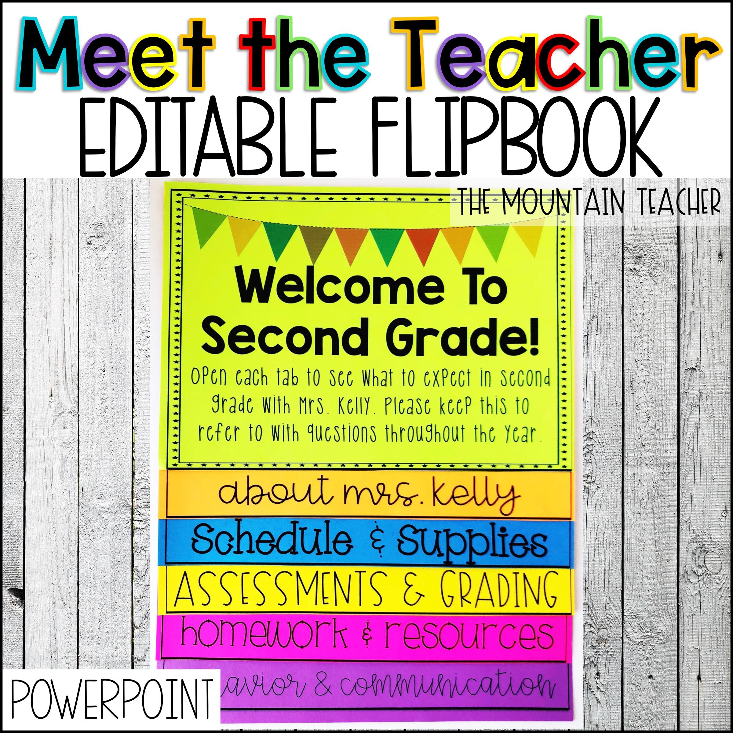 Back to School Meet the Teacher Flip Book by The Mountain Teacher