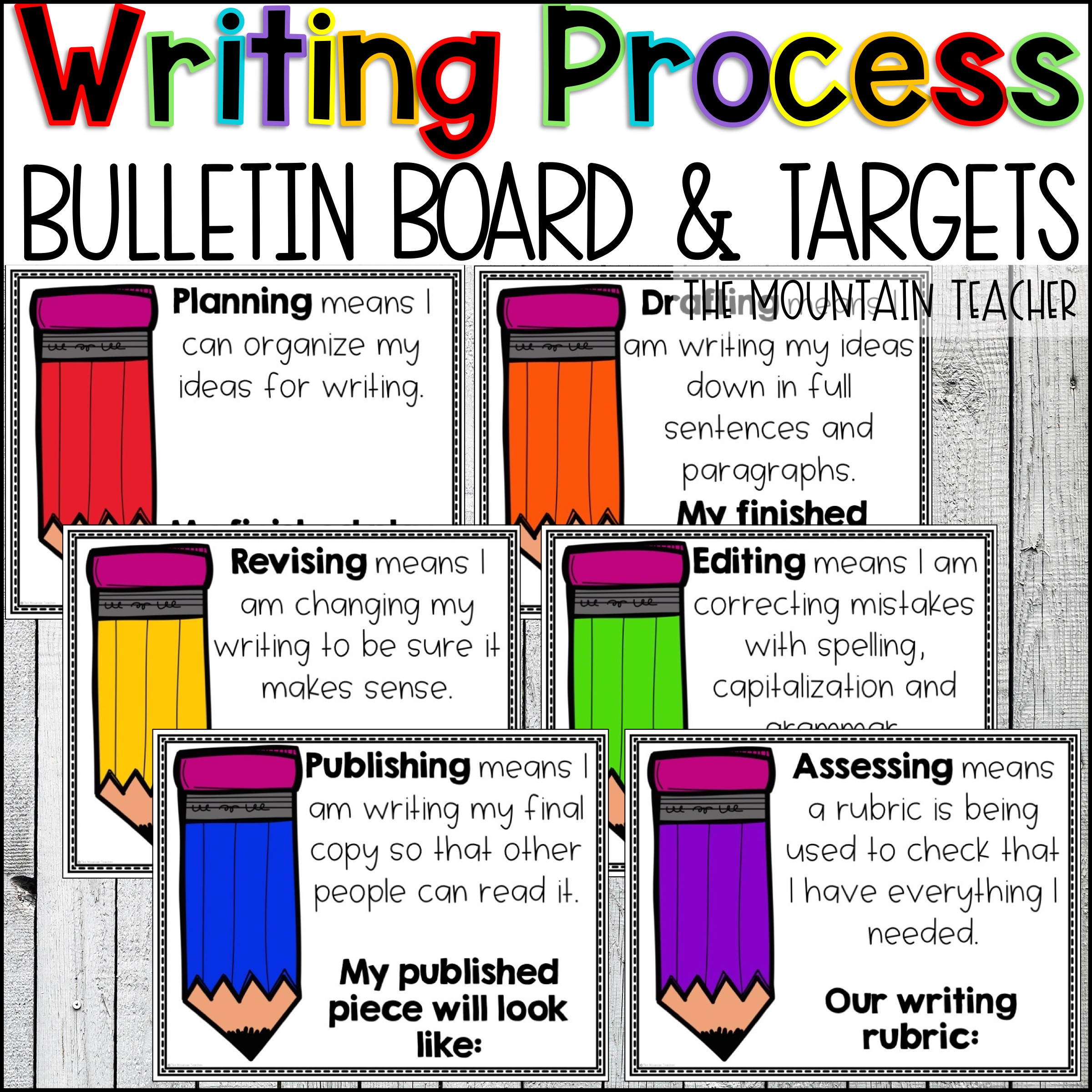 The Writing Process Anchor Charts Bulletin Board Posters By The Mountain Teacher