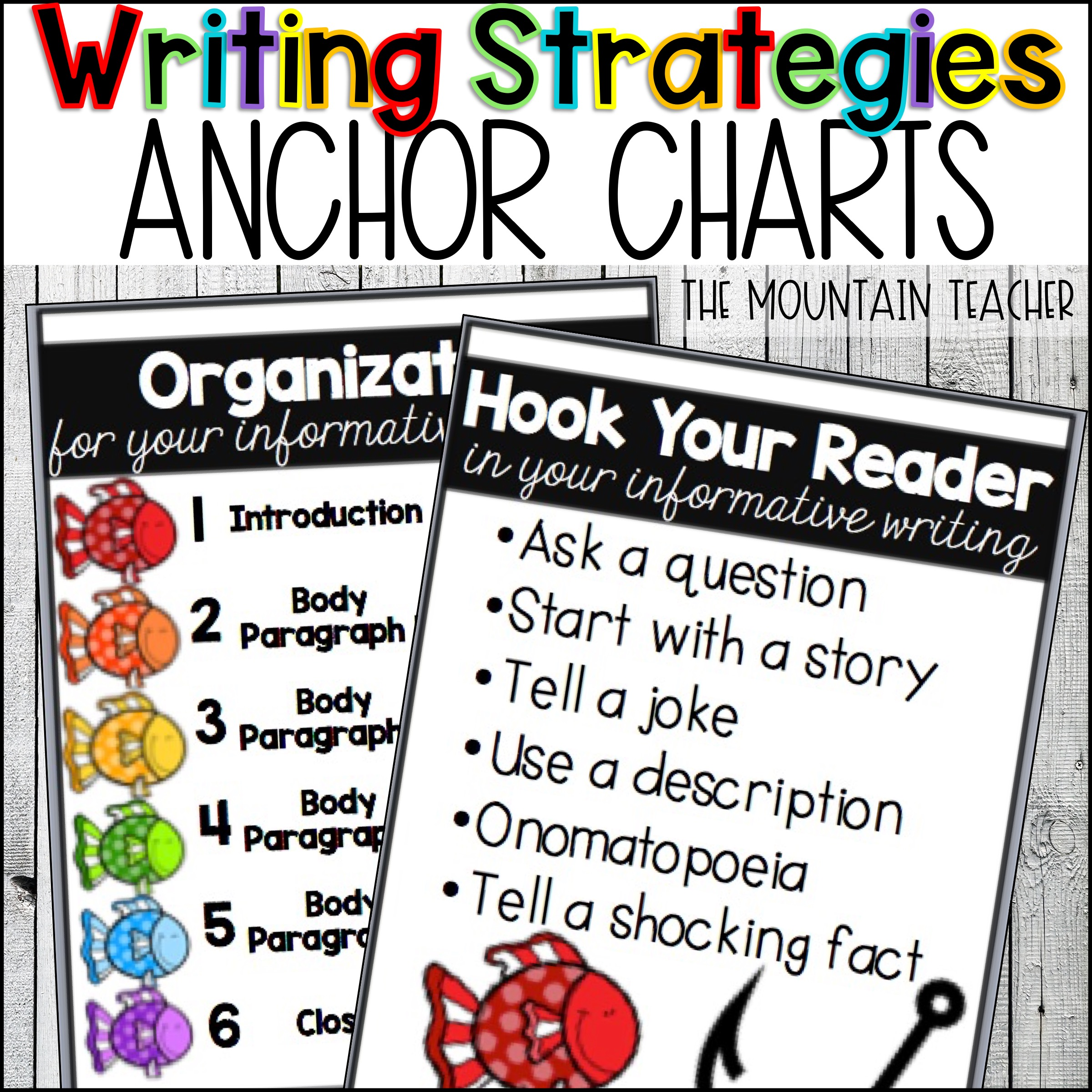 Writing Strategies for Narrative Informative and Opinion Posters Anchor Charts Bulletin Board By The Mountain Teacher
